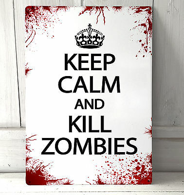 £12.99 • Buy Keep Calm And Kill Zombies Quote Blood Splat Sign A4 Metal Plaque Decor