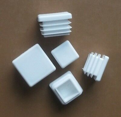 Square Plastic End Caps Blanking Plugs Tube Pipe Box Section Inserts / White • 3.45£