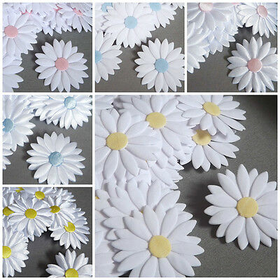 Big APPLIQUES Daisies Flowers Satin Cotton Hairband Sewing Cardmaking Crafts • 2.50£