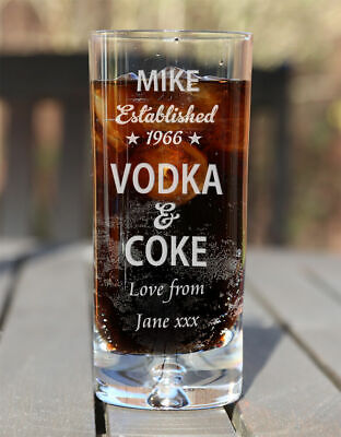 £10.99 • Buy Personalised Vodka & Coke Lovers Mixer Glass Birthday Christmas Gifts Est. Star