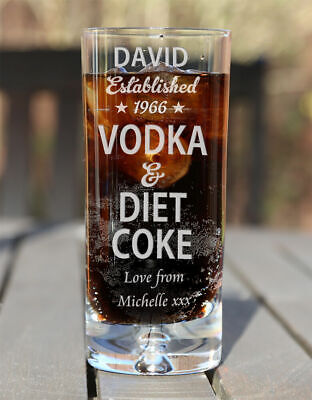 £10.99 • Buy Personalised Vodka & Diet Coke Mixer Glass Birthday Christmas Gifts Est. Star
