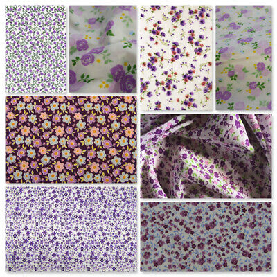 £4.50 • Buy Purple Polycotton Fabric Retro Vintage Dressmaking Roses Flowers Floral Bunting