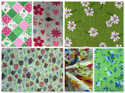 £0.99 • Buy Green Fabric Material Daisies Floral Vintage Sewing Craft Dressmaking Bunting