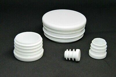 Round End Caps Plastic Blanking Plugs Bungs Pipe Tube Inserts / White • 2.87£
