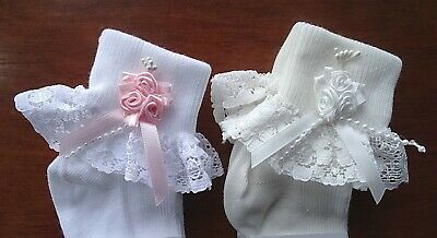 £4.99 • Buy Baby Girl White/Pink/Cream Silk Roses Pearls Lace Frilly Socks UK 00,0-2,3-5