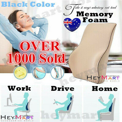 AU25 • Buy Black Memory Foam Lumbar Back Support Cushion Pillow Home Car Office Seat Chair1