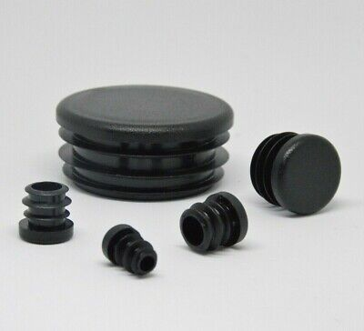 Round End Caps Plastic Blanking Plugs Bungs PipeTube Inserts  / Black • 3.22£