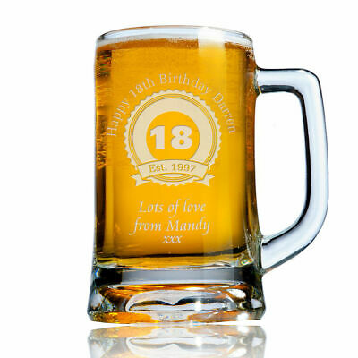 Personalised Engraved Beer Pint Glass Tankard 18th 21st 30th Birthday Gift Boxed • 9.99£