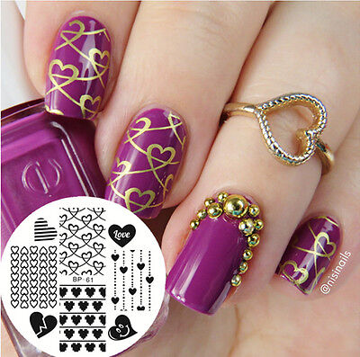 $0.99 • Buy Nail Art Stamping Plate New Pattern Love Heart  Image Template BP61 BORN PRETTY