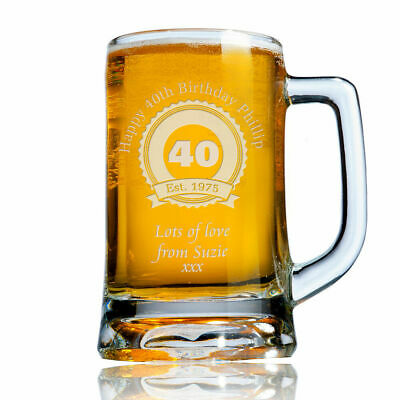 Personalised Engraved Beer Pint Glass Tankard 40th 50th 60th Birthday Gift Boxed • 14.99£