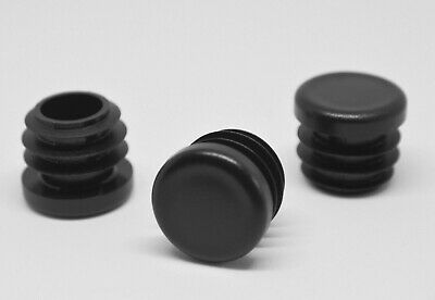 20mm Round End Caps Plastic Blanking Plugs Bungs Tube Pipe  Inserts / Black • 1.95£