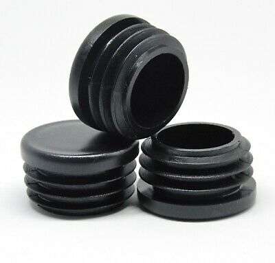 32mm Round End Caps Plastic Blanking Plugs Bungs Pipe Tube Inserts / Black • 2.15£