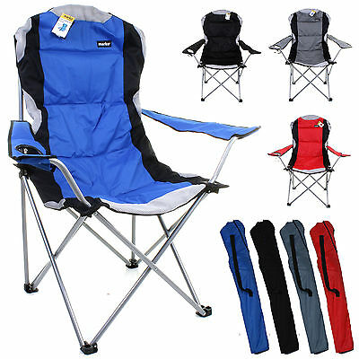 £34.99 • Buy Heavy Duty Camping Chair Luxury Padded Folding High Back Directors W/ Cup Holder