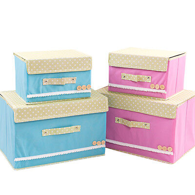 £17 • Buy Canvas Storage Boxes Foldable Pink Or Blue With Lid Set Of 2 NEW UK Seller