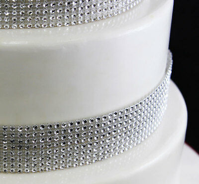SILVER Diamante Bling Sparkling DIAMOND Effect Wedding Cake Craft Ribbon BOGOF • 3.99£