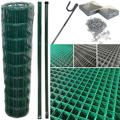 Pvc Coated Wire Mesh Fencing Wire Galvanised Garden Nail Metal Fence Posts Rolls • 29.99£