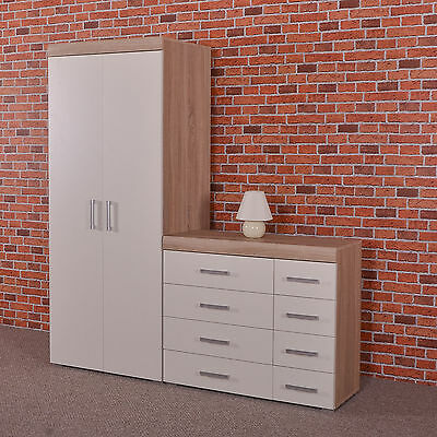 2 Door Wardrobe & 4+4 Chest Of Drawers In White & Sonoma Oak Bedroom Furniture 8 • 169.95£