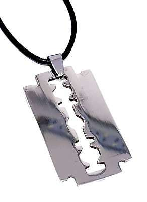 Razor Blade Pendant Peaky Mobster Gang Adjustable Leather Cord Necklace  • 6.74£