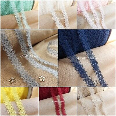 £1.99 • Buy Narrow Lace Ribbon Trimming BRIDAL CRAFTS VINTAGE - 10mm Wide 🌟 25 COLOURS 🌟