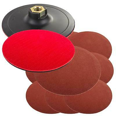 10 Angle Grinder/Polisher Mount 125mm Mixed Sanding Discs & Rubber Backing Pad • 8.53£