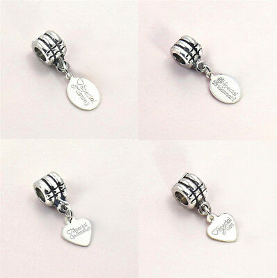 Bracelet Charm With Engraved Sterling Silver Tag, On Bail For Snake Chains • 7.99£