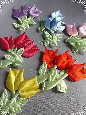 BIG  APPLIQUES Flowers Tulips Soft Satin Sewing Cardmaking Crafts Baby X3 • 0.99£