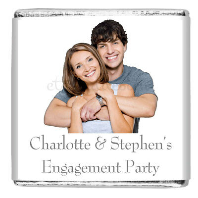 £5 • Buy Personalised Engagement Party Milk Chocolate Square Favours **10 Designs**