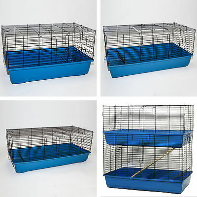 Large Indoor Rabbit Guinea Pig Cage Indoor Hutch Run Double Decker Layer 4 Sizes • 29.99£