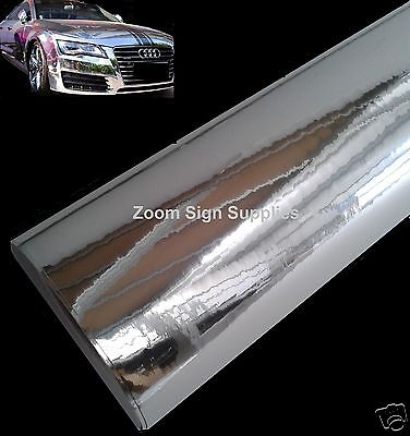 £8.45 • Buy SILVER MIRROR CHROME WRAPPING VINYL 1.52Mx300MM BUBBLE FREE STICKY BACK PLASTIC