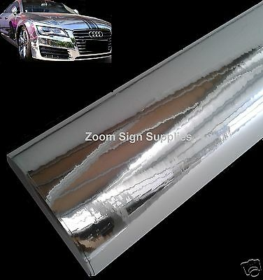 1.52Mx600MM SILVER MIRROR CHROME WRAPPING VINYL BUBBLE FREE STICKY BACK PLASTIC  • 12.64£