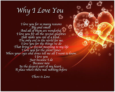 Personalised Why I Love You Poem Birthday Christmas Valentines Gift Present • 3.99£