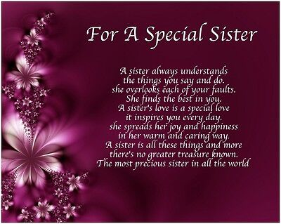 £3.99 • Buy Personalised For A Special Sister Poem Birthday Christmas Gift Present