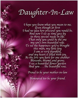 Personalised Daughter In Law Poem Birthday Christmas Christening Gift Present • 3.99£