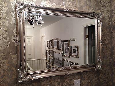 X LARGE Antique Silver Shabby Chic Ornate Decorative Wall Mirror FREE POSTAGE • 89.99£