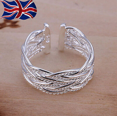 £2.99 • Buy 925 Sterling Silver Plated Adjustable Ring Weave Twist Rope Thumb Finger UK