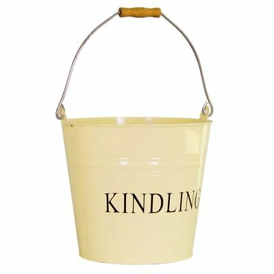 Kindling Bucket Cream Fire Coal Ash Log Wood Storage Basket Hod By Home Discount • 11.95£
