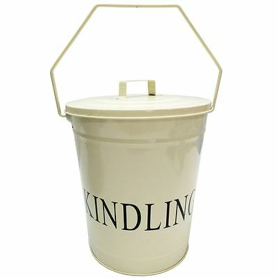 Kindling Bucket Lid Cream Fire Coal Ash Log Wood Storage Basket By Home Discount • 11.95£