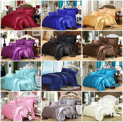 AU61.99 • Buy Solid Silk Like All Size Quilt Duvet Doona Covers Set/Flat/Fitted Sheet Bed Soft