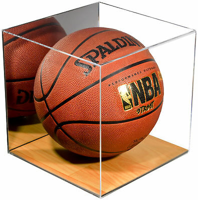 Acrylic Full Size Basketball Display Case With Wood Floor And Mirror (A008-WB) • 49.89$