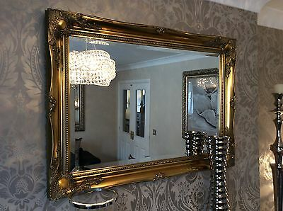 £99.99 • Buy Large Antique Gold Shabby Chic Ornate Decorative Over Mantle Gilt Wall Mirror