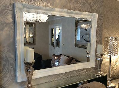 £99.99 • Buy Large French White Shabby Chic Ornate Decorative Over Mantle Wall Mirror FreeP&P