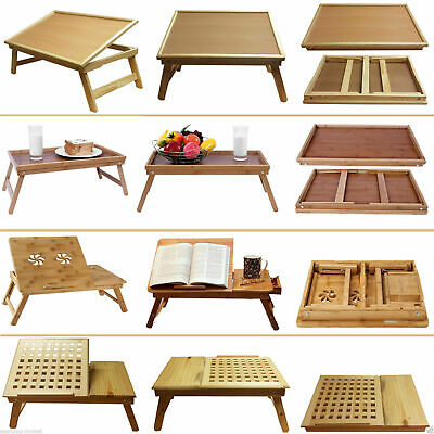 Deluxe Large Medium Wooden Bamboo Laptop Tray Table Desk Bed Folding Adjustable • 13.98£