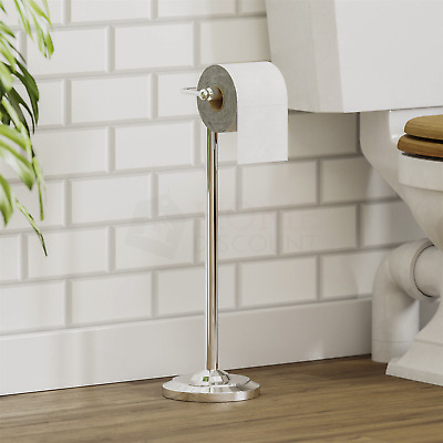 £12.95 • Buy Toilet Roll Paper Holder Floor Free Standing Chrome Bathroom By Home Discount