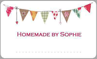 Bunting Fete Jam Pot Jar Labels Homemade Preserves Hamper Space For Writing 2 • 2.50£