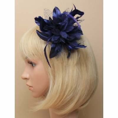 Navy Blue Fascinator Comb With Chiffon Flower And Feather Tendrils • 3.95£