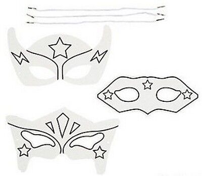 £8.20 • Buy Pack Of 12 - Colour Your Own Superhero Masks