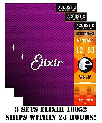 $ CDN57.38 • Buy *3 Sets Elixir 16052 Nanoweb Acoustic Guitar Strings Light 12-53 Phosphor Bronze