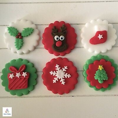 £4.99 • Buy 6 Edible Christmas Cup Cake  Decorations Toppers Tree Stocking Holly Snowflake