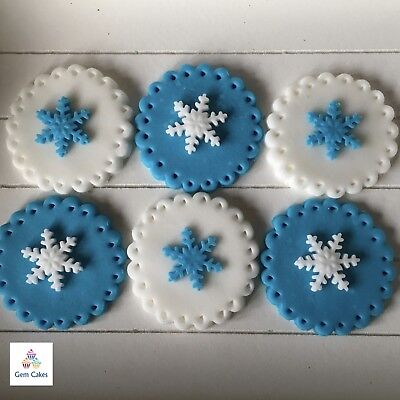 £4.99 • Buy 6 Edible Christmas Cake Cupcake Decorations Toppers Snowflakes Frozen Blue White