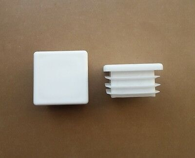 40mm X 40mm Square Plastic End Caps Blanking Plugs Tube Inserts / White • 2.91£
